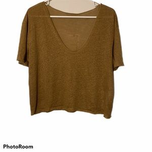 Zara crop top blouse 100% linen new with tags